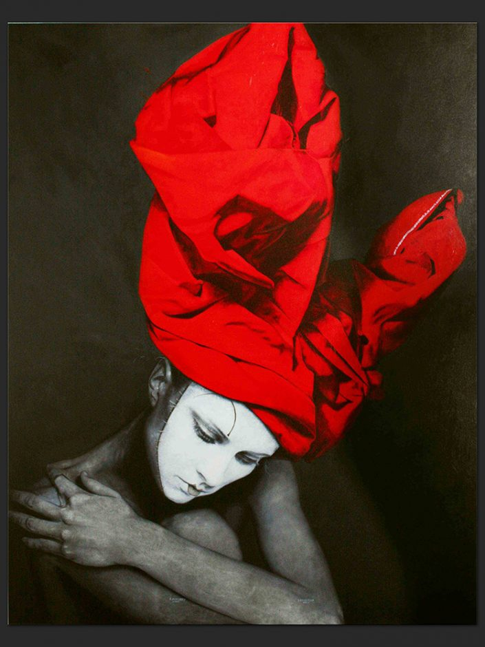 Mujer con turbante de conejo