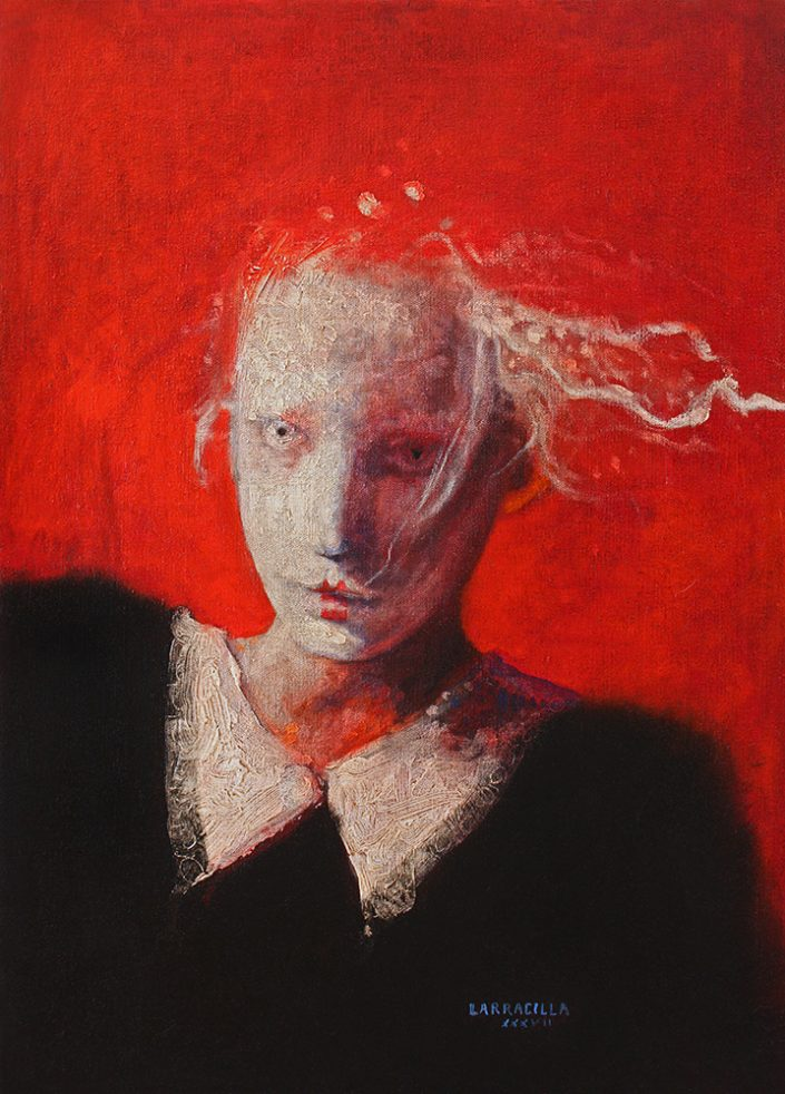 Muchacha con fondo rojo